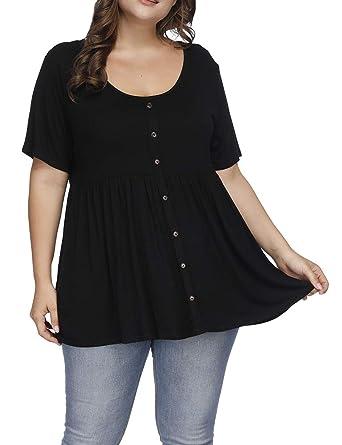 cd139810476f4d Allegrace Women's Plus Size Henley Scoop Neck Button Tunic Tops Short  Sleeve Swing Flowy Shirts Black