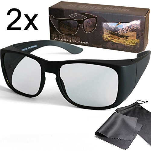 2x Passive 3D Overglasses fit over your optical glasses - For RealD 3D Cinema & passive 3D TV such as LG Cinema 3D, Philips Easy 3D, 3DTV from Sony Toshiba - Polarisation Glasses