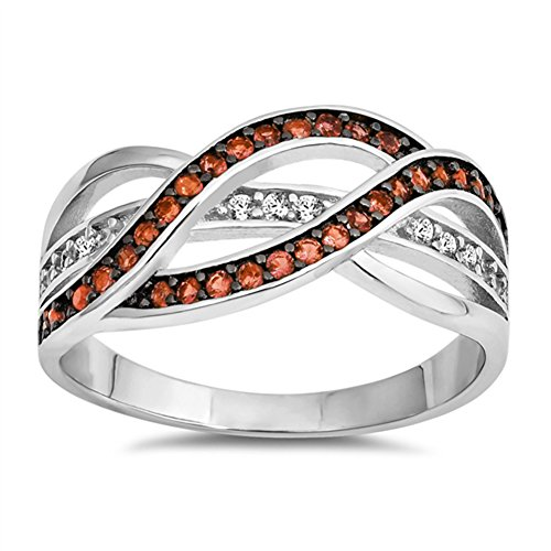 Simulated Garnet Woven Braided Filigree Knot Ring .925 Sterling Silver Band Size 5 ()