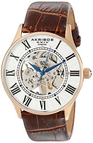 Akribos XXIV Men's AK410 'Saturnos' Skeleton Automatic Leather Strap Watch (Rose/Gold)