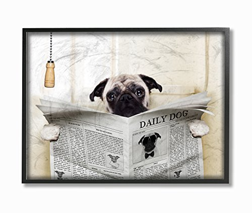Stupell Industries Pug Reading Newspaper in Bathroom Oversized Framed Giclee Texturized Art, 16 x 1.5 x 20, Proudly Made in USA made in New England