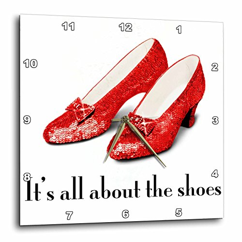 3dRose dpp_108339_3 Its All About The Shoes, Ruby Slippers Wizard of Oz-Wall Clock, 15 by ()