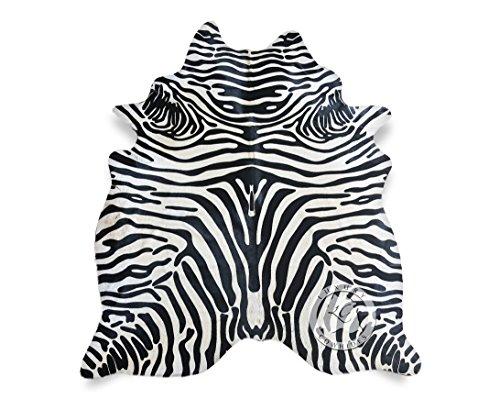 - Safari Zebra Black On Off White Cowhide Rug 6ft x 7ft 180 cm x 210cm - Top Quality