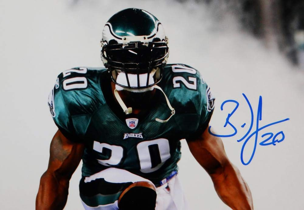 Brian Dawkins Autographed Eagles 8x10 Kneeling in Smoke PF Photo JSA W Auth Blue