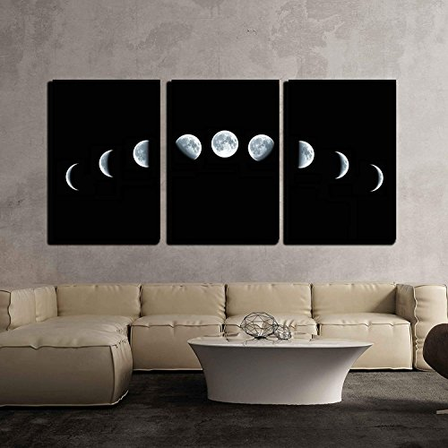 9 Phases of The Moon Cycle Wall Decor x3 Panels