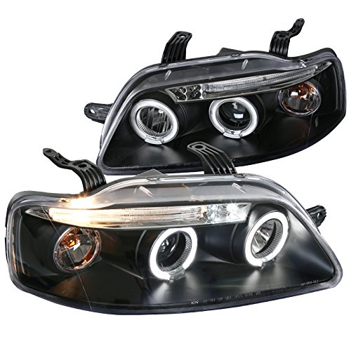 Spec-D Tuning 2LHP-AVE045JM-TM Chevy Aveo Aveo5 4Dr Black LED Halo Projector Head Lights