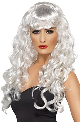 Smiffy's Women's Long White Curly Wig with Bangs, One Size, Siren (White Halloween Wig Uk)