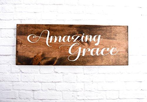Amazing Grace Wood Sign - Christian Wooden Wall décor – Bible Verse Plaque
