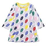 Suma-ma (2T-7T) Children Kids Girls Long Sleeved Cartoon owl Gray Print Dress Clothing