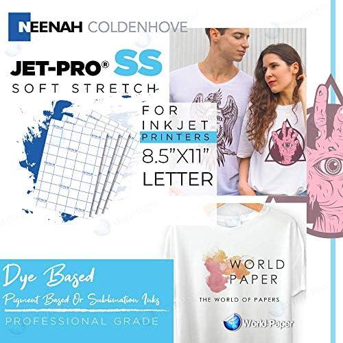 "Jet-PRO SS JETPRO SOFSTRETCH Heat Transfer Paper 8.5 X 11"" Custom Pack 100 Sheets"