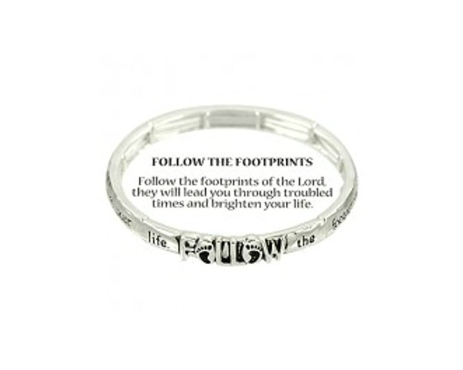 """Follow the Footprints"" Religious Inspirational Engraved Hammered Silver-tone Stretch Bracelet By Athena Brand"