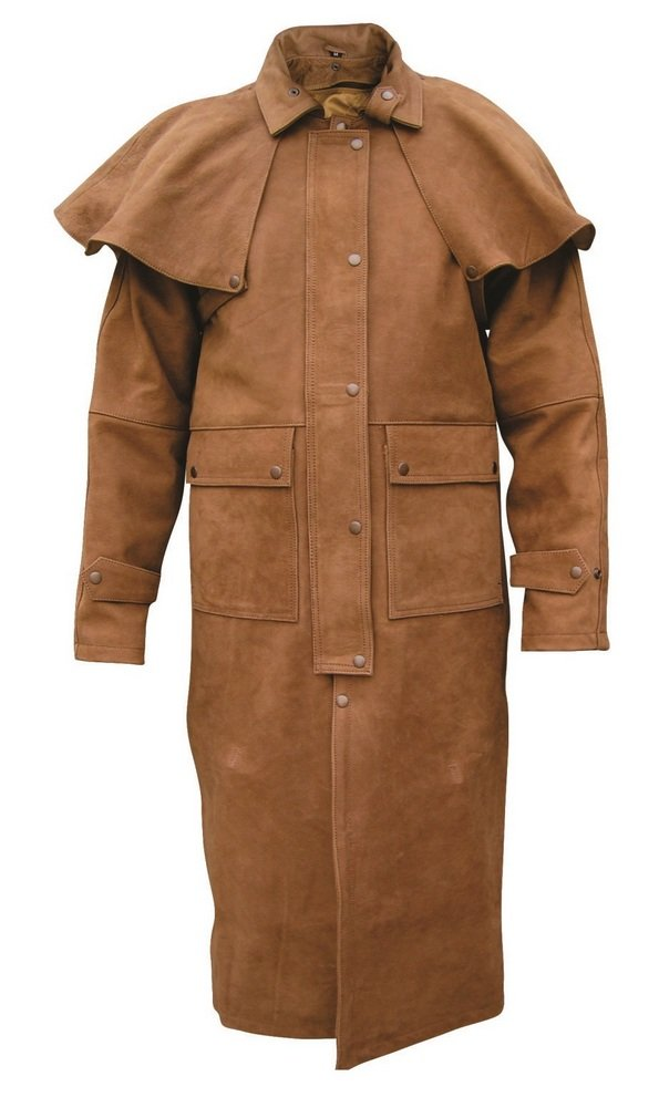 8970f71396742 Amazon.com: Brown Leather Coat Duster with Zip-out liner, Leg-straps, and  Removable Cape: Clothing