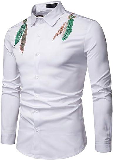 Loeay Primavera Hombres Camisa de Manga Larga Estilo Indio ...