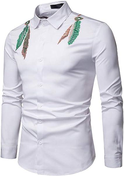 Loeay Primavera Hombres Camisa de Manga Larga Estilo Indio Hojas Bordado Algodón Slim Camisa de Negocios Hombres Camisas Blancas Negras: Amazon.es: Ropa y accesorios