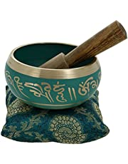 Ajuny Beautiful Green Tibetan Buddhist Singing Bowl Comes Stick And Cushion Ideal For Meditations And Sound Healing 4 Inch