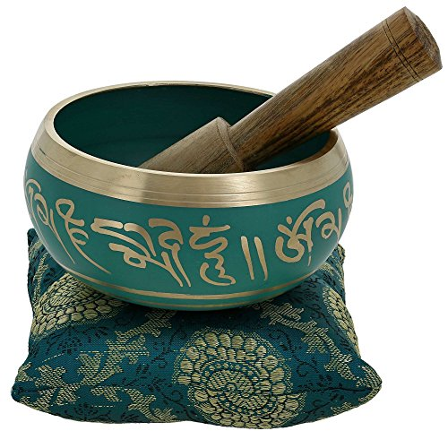 ShalinIndia 4 Inches Hand Painted Metal Tibetan Buddhist Singing Bowl Musical Instrument for Meditation with Stick and - Base Painted Green
