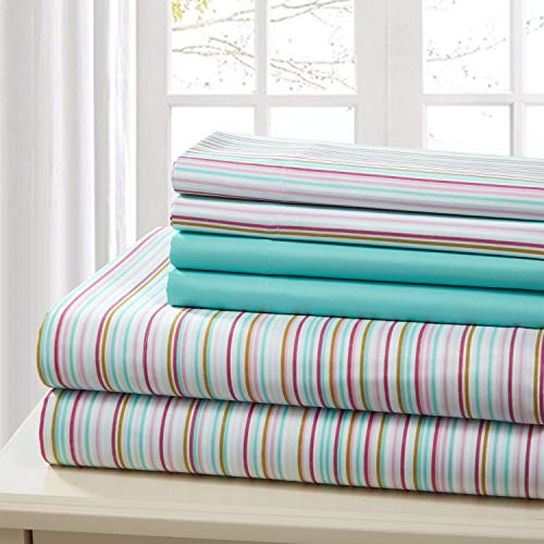(Traditional Home Sheet Set Cotton Percale 6 Piece Print Twin Full Queen King Soft (Aqua Stripe, Queen))