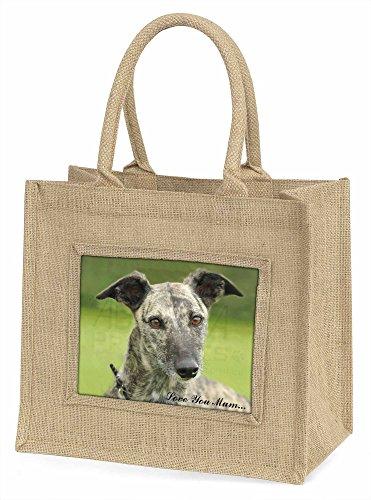 Advanta Lurcher Hund, Love You Mum Große Einkaufstasche Weihnachten Geschenk Idee, Jute, beige/natur, 42x 34,5x 2cm