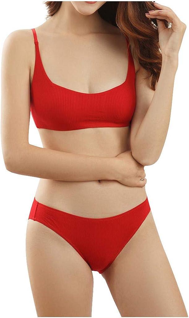 HebeTop Sexy Lingerie for Women Modern Comfortable Cotton Bralette and Bikini Set 51hCIUtrZTL