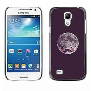 Viñeta Luna Bigote Dormir - Metal de aluminio y de plástico duro Caja del teléfono - Negro - Samsung Galaxy S4 Mini i9190 (NOT S4)