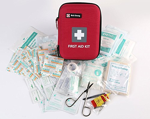 WELL-STRONG 128 Pieces First Aid Kit - Compact and Lightweight First Aid Bag - Essential for Home, Car, School, Office, Sports, Travel, Camping, Hiking or Any Other Outdoors Activities by WELL-STRONG (Image #3)