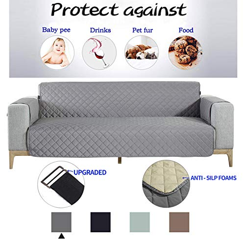"""NEKOCAT Sofa Cover,100% Waterproof Nonslip Quilted Furniture Protector Slipcover, Seat Width to 68"""" Furniture Protector with Elastic Strap, Washable Couch Slip Cover(Sofa,Gray/Anti-Slip)"""