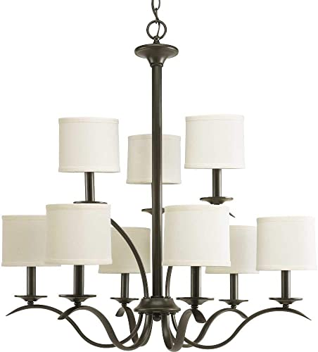 Progress Lighting P4638-20 Transitional Nine Light Chandelier from Inspire Collection Dark Finish, Antique Bronze