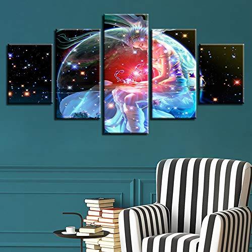 (sssxka Framework Artworks Print Decor Bedroom Wall Painting 5 Pieces Scorpio Zodiac Astrological Sign Art Canvas Picture Modular Poster-40x60cmx2 40x80cmx2 40x100cmx1)