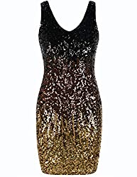 Deep V-Neck Sequin Stretchy Mini Dress