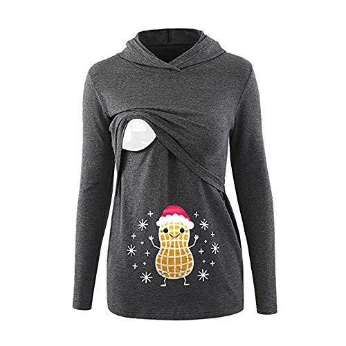 Caopixx Women's Sweatshirts Ladies Nursing Long Sleeves Christmas Breastfeeding Hoodie Pullover -