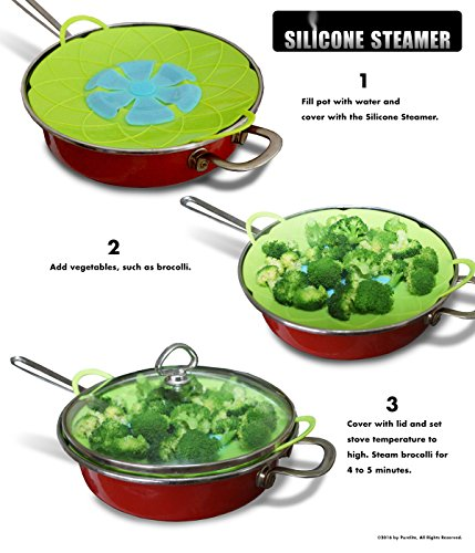 DUAL USE: Vegetable Steamer and Spill Stopper Lid Cover | Cook Healthy by Steaming Vegetables | Boil Guard Prevents Pots from Boiling Over When Unattended | Made of FDA Food Grade Silicone