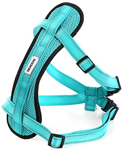 Chest Plate Harness by DEXDOG | Auto Car Safety Harness | Adjustable Straps, Reflective, Padded for Comfort | Best Dog Harness Small Large Dogs (Turquoise, Small) Review