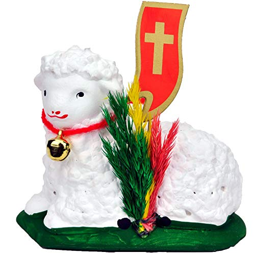 STOKROTKAUS Small White Easter Baby Sheep Figurine with Flag and Colorful Polish Palm