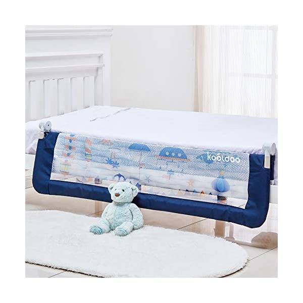 59 Inches Toddler Bed Rail Fold Down Safety Baby Bed Guard with NBR Foam Including 1 Pc Safety Strap by KOOLDOO (Blue) 5