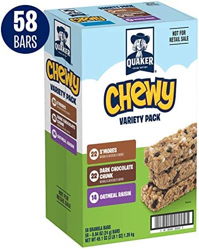 Quaker Chewy Granola Bars, Back to School Variety Pack, 58 Bars
