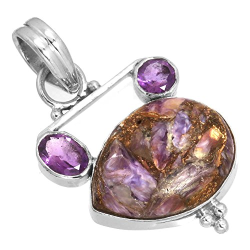 Solid 925 Sterling Silver Pendant Natural Copper Charoite Gemstone Modern Jewelry