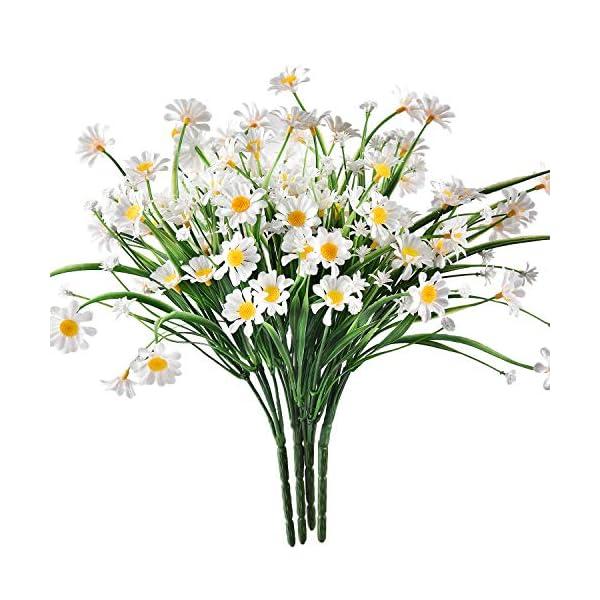 Sunm Boutique Dolicer Artificial Daisy Bouquet, Lifelike Silky Daisies Artificial Gerber Daisy Flowers Artificial Flowers Outdoor UV Resistant Daisy, forWeddingPartyBalcony HomeDecor