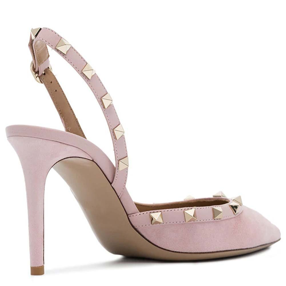 Kmeioo Pumps for Women, Rivets Heels Slingback Pumps Pointed Toe Heel High Heel Toe Sandals Rockstudded Shoes for Wedding Dress B07G46SYGD 8.5(B)M US|Pink Suede b076c0