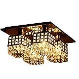 Crystal Ceiling Light ANNT lighting Modern Fixture Flush Mount Gein Pattern with 4 Lights for Living Room, Hallway, Bedroom