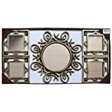 5 Piece Antique Gold Decorative Wall Display 15'' Round Mirror and Square 8'' Mirror Set