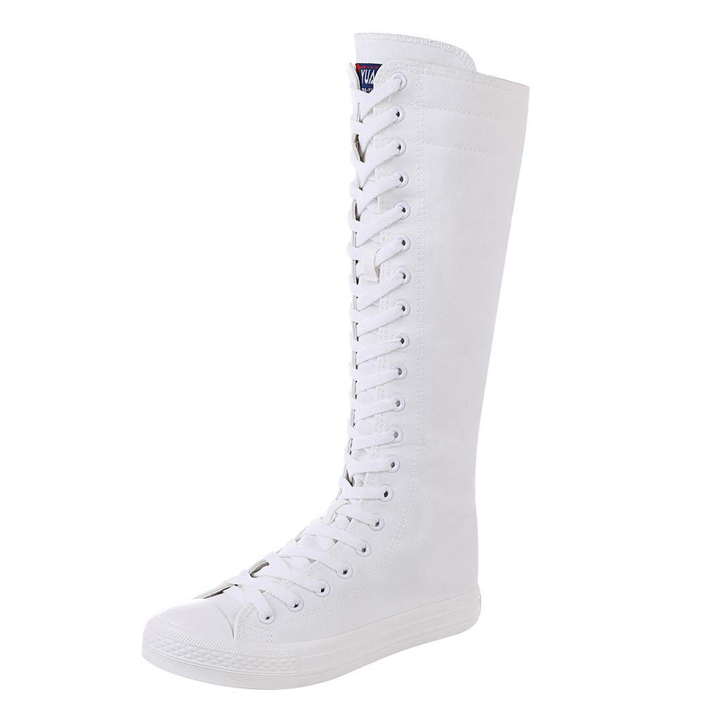 ❤Kauneus❤ Girls Women Fashion Knee High Lace-Up Canvas Boots Pure White Black Zip Dance Boots (Short Boots and High Boots) by Kauneus Fashion Shoes