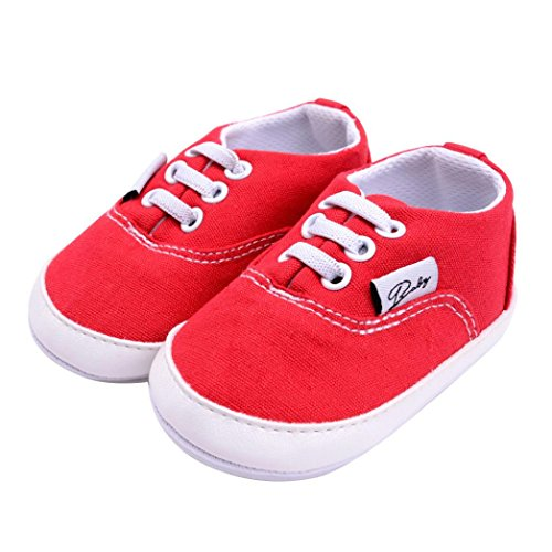 Hunpta Neugeborene Säuglingsbaby Mädchen Jungen Krippe Schuh weiche alleinige Anti-Rutsch Turnschuh Segeltuch Rot