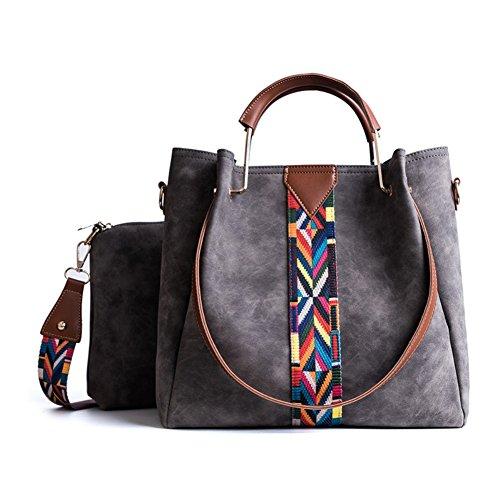 BEKILOLE Women Top handle Satchel PU Leather Handbag Shoulder Bag Colorful Shoulder Strap 2 Pieces/Set-Gray (Fedex Refund Policy)