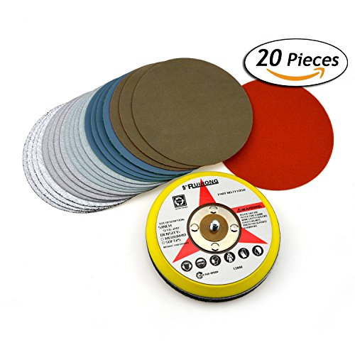 5-Inch Multiple Grits Aluminum Oxide Wet/Dry Hook and Loop Sanding Discs with a 5/16-24 Inch Thread Backing Pad + Soft Sponge Buffering Pad, 4-pieces Each of 60, 240, 600, 3000, and 10000 Grits