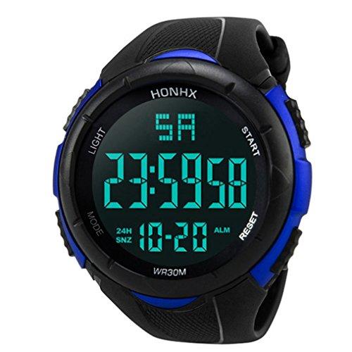 KingWo Mens Sports Watches Men Digital Analog Waterproof Big Face Military Wrist Watch (Blue)