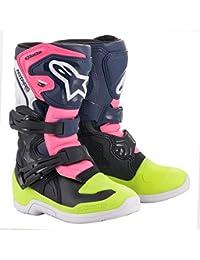 Youth Tech 3S Motocross Boot, Black/Dark Blue/Pink, 7