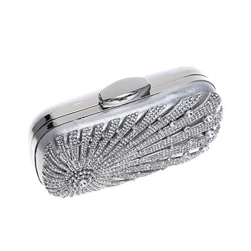 Bag For Clutch Ladies Party Clubs Gift Wedding Women Handbag Evening Diamante Silver Bridal Prom Purse Shoulder Glitter Bag 45nWqnz7Zx