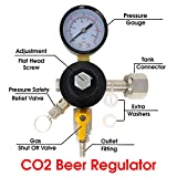 Co2 Beer Regulator Single Gauge Kegerator Heavy Duty Features Adjusting Screw - 0 to 80 PSI / 6 Bar Tank Pressure CGA-320 Inlet w/ 3/8' O.D.