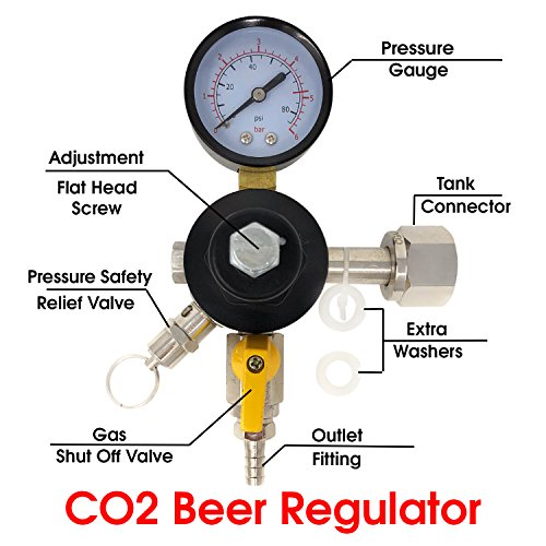 Co2 Beer Regulator Single Gauge Kegerator Heavy Duty Features Adjusting Screw - 0 to 80 PSI / 6 Bar Tank Pressure CGA-320 Inlet w/ 3/8'' O.D. by PRO CO2