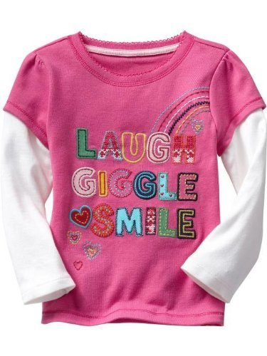 Gap – Camiseta de manga capas Look – Laugh * Giggle * Smile – Rosa,